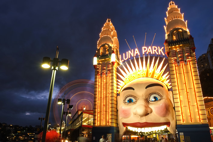 the iconic Luna Park in Sydney