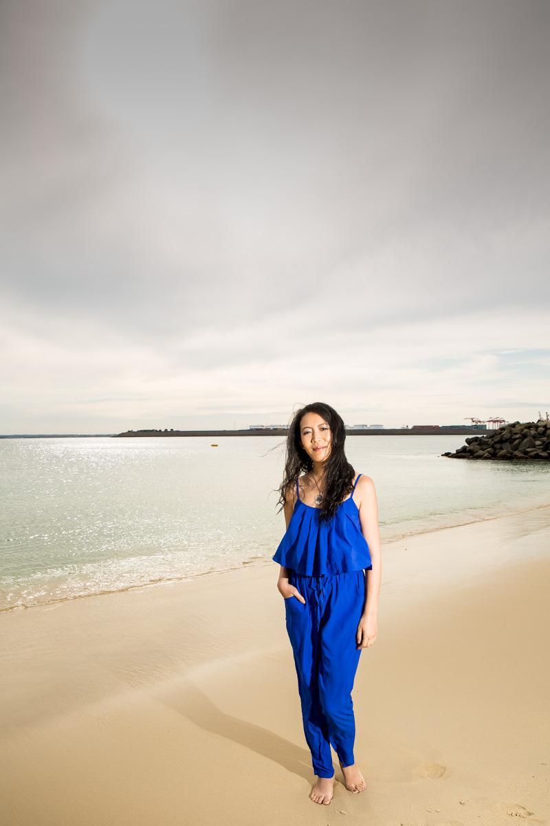 beach blue jumpsuit