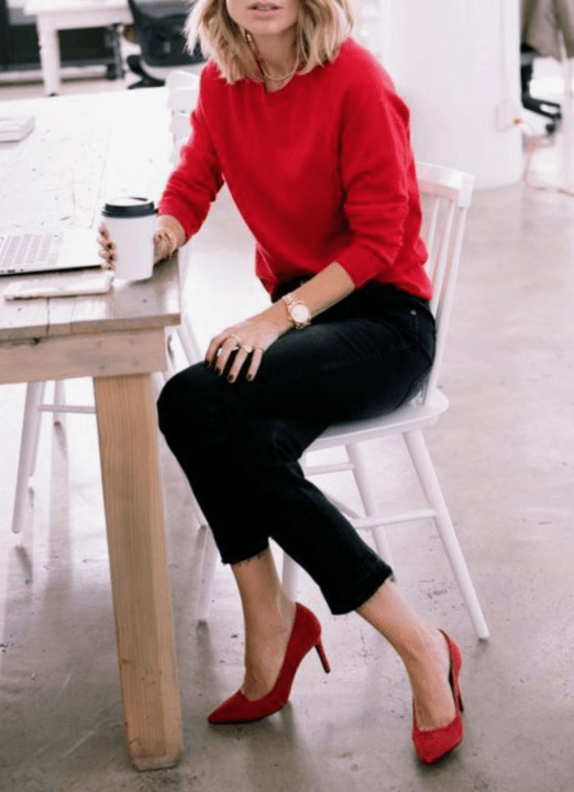winter office outfit ideas add colors red