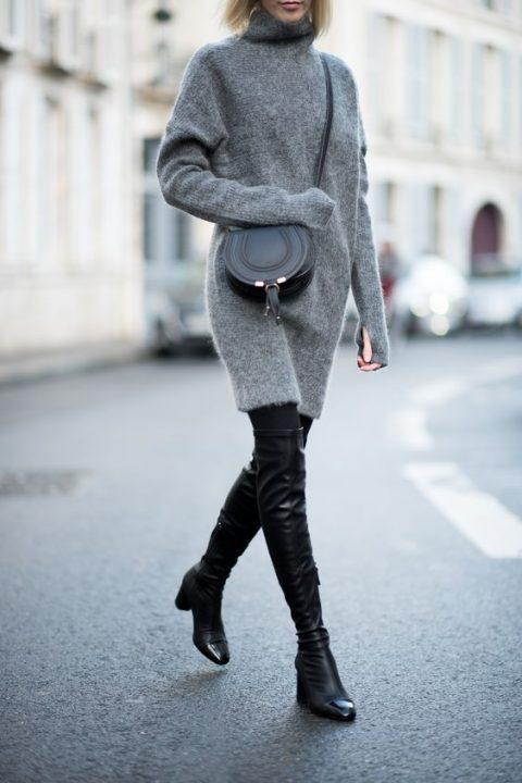winter office outfit ideas knitted dress