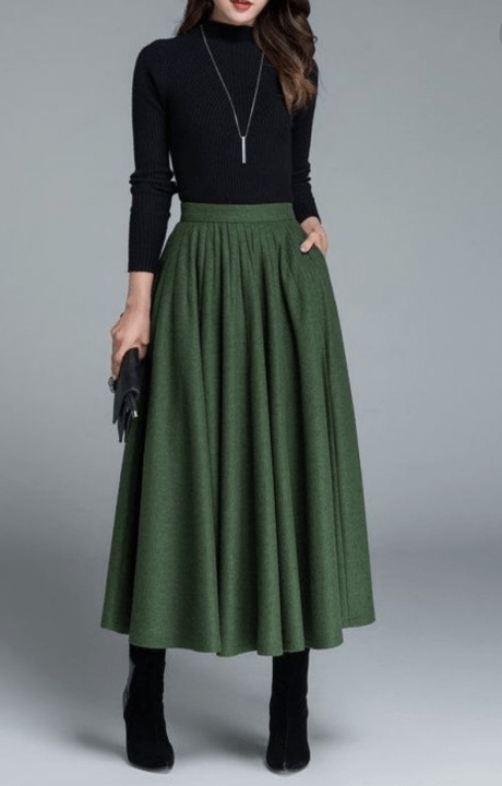 winter office outfit ideas maxi skirt