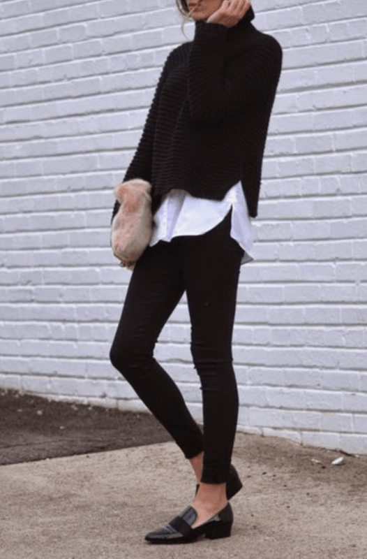 winter office outfit ideas sweater over shirt