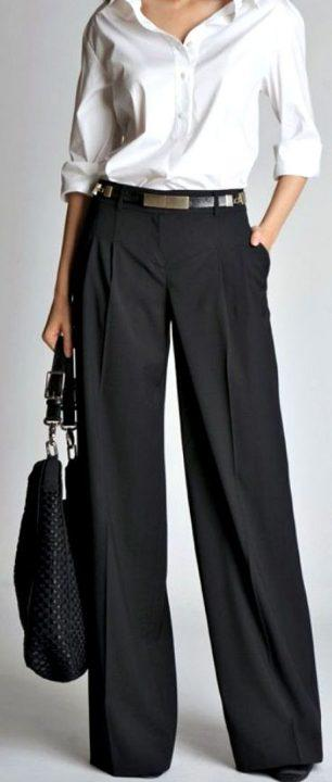 winter office outfit ideas wide legged pants