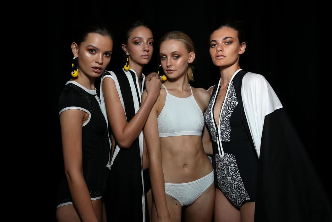 SYDNEY, AUSTRALIA - MAY 19: Models pose backstage ahead of the Swim show at Mercedes-Benz Fashion Week Resort 17 Collections at Carriageworks on May 19, 2016 in Sydney, Australia. (Photo by Lisa Maree Williams/Getty Images)