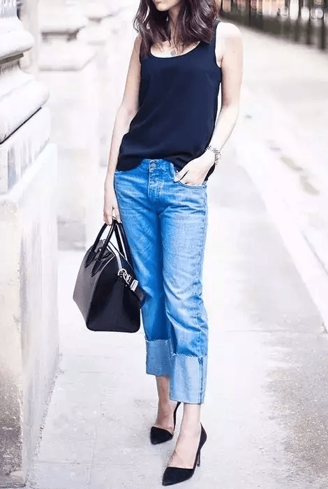 straight leg jeans with heels